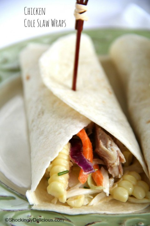Chicken and a side of cole slaw sleep together cozily in a tortilla, for a zesty Chicken Cole Slaw Wrap perfect for lunch or dinner | ShockinglyDelicious.com