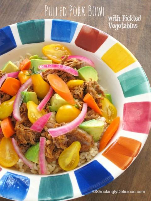 Pulled Pork Bowl with Pickled Vegetables | Easy Weeknight Dinner Pulled Pork Bowl | ShockinglyDelicious.com