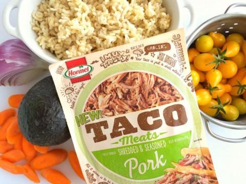 Ingredients for Pulled Pork Bowl with Pickled Vegetables on ShockinglyDelicious.com