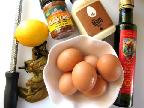 Ingredients for Triple Hatch Chile Deviled Eggs on ShockinglyDelicious.com
