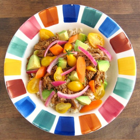 Pulled Pork Bowl with Pickled Vegetables   Easy Weeknight Dinner Pulled Pork Bowl   ShockinglyDelicious.com