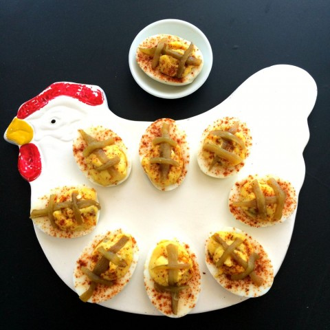 Triple Hatch Chile Deviled Eggs look like little footballs on ShockinglyDelicious.com