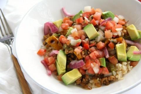 Light and lean Triple Hatch Chile Turkey Dinner Bowl Recipe using organic ground turkey | ShockinglyDelicious.com
