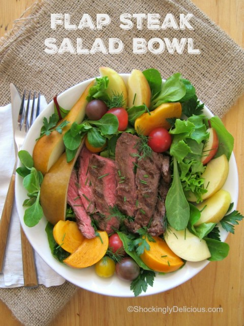 Thin, quick-grilling flap meat stars in a Flap Steak Salad Bowl that solves the weekday dinner problem. Tuck seasonal fruit in, and you have a satisfying, healthy meal. | ShockinglyDelicious.com