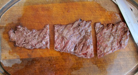 Flap Steak cut into 3 sections after grilling on ShockinglyDelicious.com