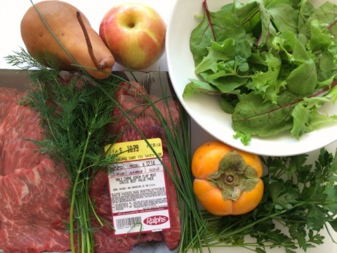Ingredients for Flap Steak Salad Bowl on ShockinglyDelicious.com