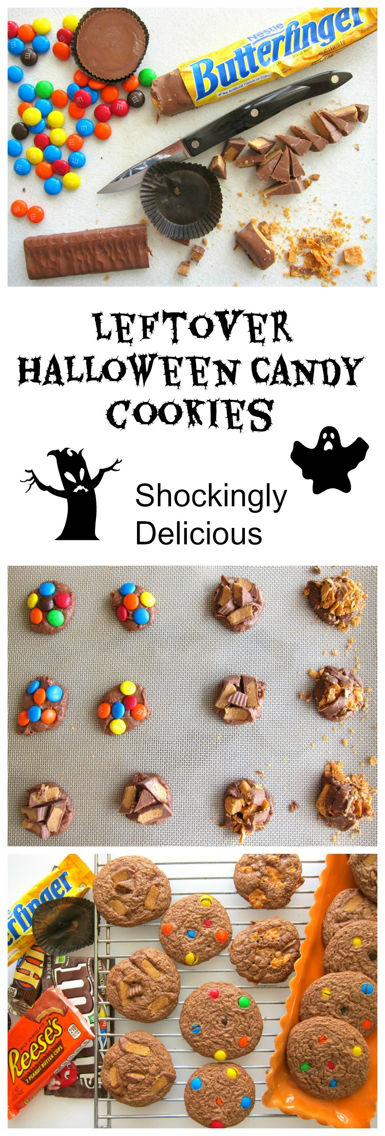 Leftover Halloween candy makes the best cookies, and is a dandy way to use it up. This classic recipe solves your November candy problems. | ShockinglyDelicious.com