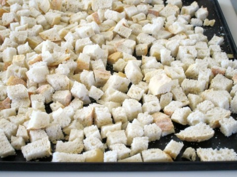 Bread cubes drying overnight on ShockinglyDelicious.com