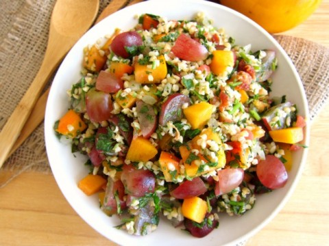 Fast Fruity Tabbouli Salad with Bacon is a great hack for a tub of Trader Joe's tabbouli. | ShockinglyDelicious.com