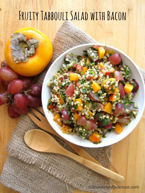 This hack for a tub of Trader Joe's Tabbouli morphs into Fast Fruity Tabbouli Salad & Bacon, sporting herbs, crunch, salt and sweetness, on ShockinglyDelicious.com.