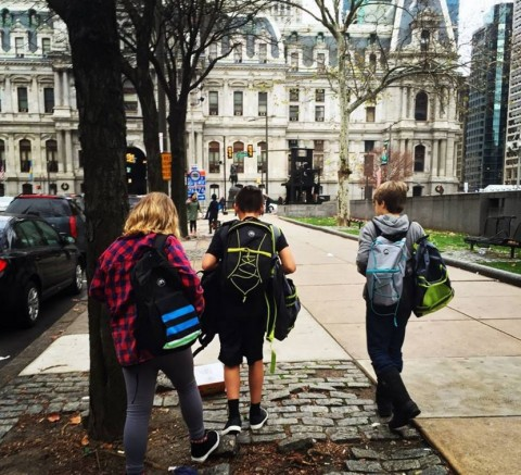 3 cousins handing out homeless care backpacks in Philadelphia