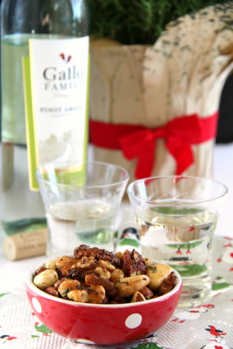 Best Bar Nuts appetizer recipe pairs well with wine on ShockinglyDelicious.com
