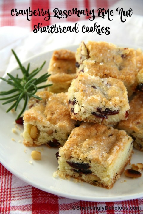Cranberry Rosemary Pine Nut Shortbread Cookies on ShockinglyDelicious.com