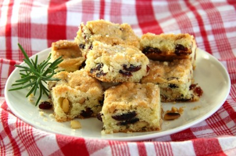 Simple, sweet, herbal, nutty, toasty Cranberry Rosemary Pine Nut Shortbread has all the best flavors of the season. | ShockinglyDelicious.com