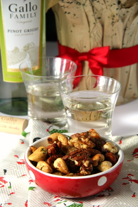 Pinot Grigio is a good pairing with Best Bar Nuts on ShockinglyDelicious.com