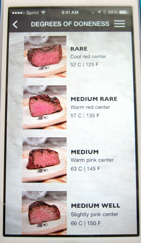 Roast Perfect app showing doneness
