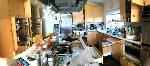 What does a food blogger's kitchen look like? Take a look at the kitchen of Dorothy Reinhold of Shockingly Delicious, in the midst of recipe creation. Yeah, that's the excuse.