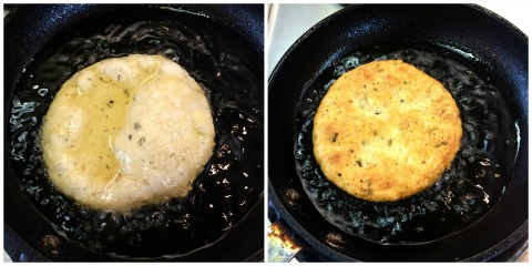 Fry the dough disc in olive oil and then flip it for Italian Fry Bread on ShockinglyDelicious.com