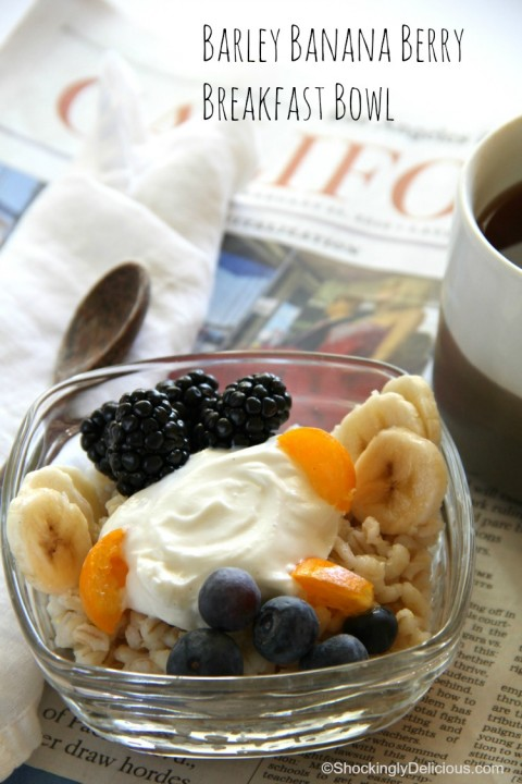 Barley Banana Berry Breakfast Bowl from ShockinglyDelicious.com