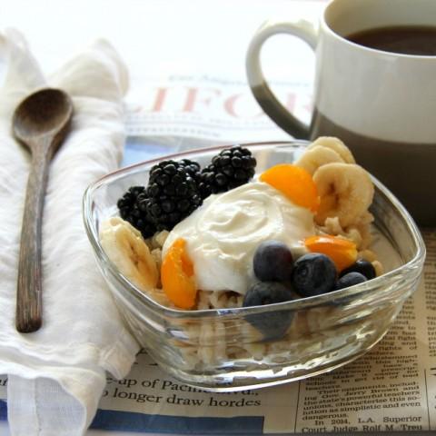 Barley Banana Berry Breakfast Bowl recipe on ShockinglyDelicious.com