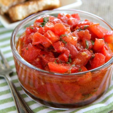 Better Than Trader Joe's Bruschetta Sauce recipe on ShockinglyDelicious.com