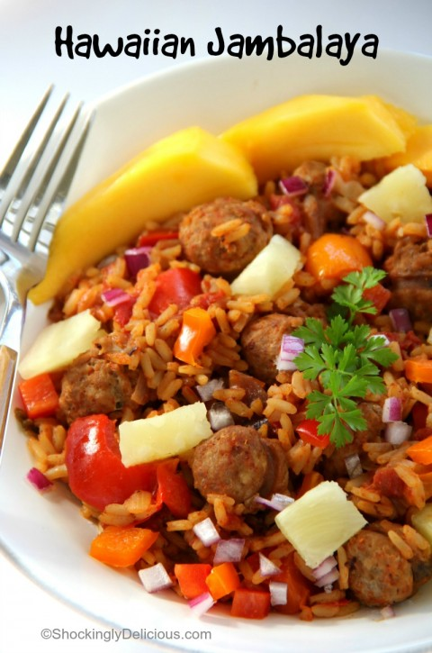 Hawaiian Jambalaya for Mardi Gras on ShockinglyDelicious.com