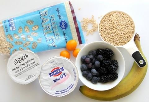 Ingredients for Barley Banana Berry Breakfast Bowl on ShockinglyDelicious.com