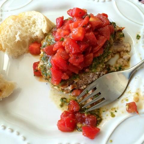 Turkey patty spread with pesto and Better Than Trader Joe's Bruschetta Sauce on ShockinglyDelicious.com