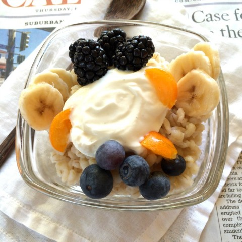Yummy Barley Banana Berry Breakfast Bowl on ShockinglyDelicious.com