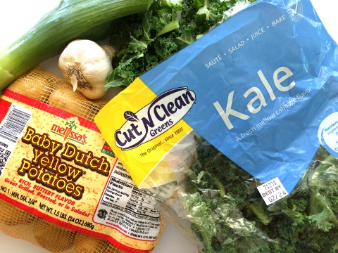 Ingredients for vegan Colcannon Soup on ShockinglyDelicious.com