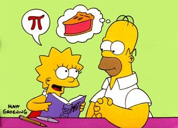 Lisa and Homer Simpson and Pi