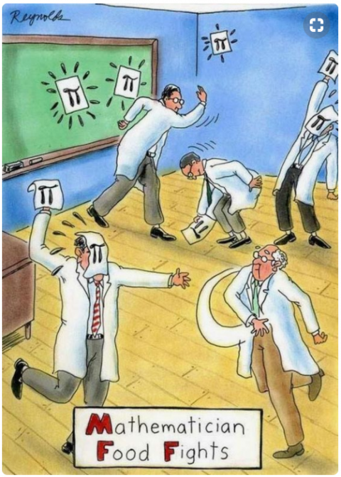Mathematician food fights cartoon by Reynolds