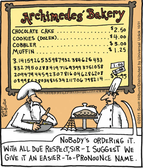 Pi Day cartoon The Argyle Sweater by Scott Hilburn for Oct 31, 2011