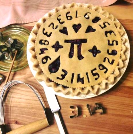 Pie crust decorated for Pi Day