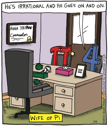 Wife of Pi cartoon by Scott Hilburn The Argyle Sweater 2-8-2013