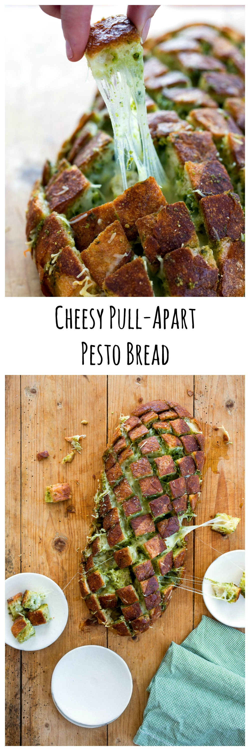 Cheesy Pull-Apart Pesto Bread recipe from Carla Hall and The Chew on ShockinglyDelicious.com