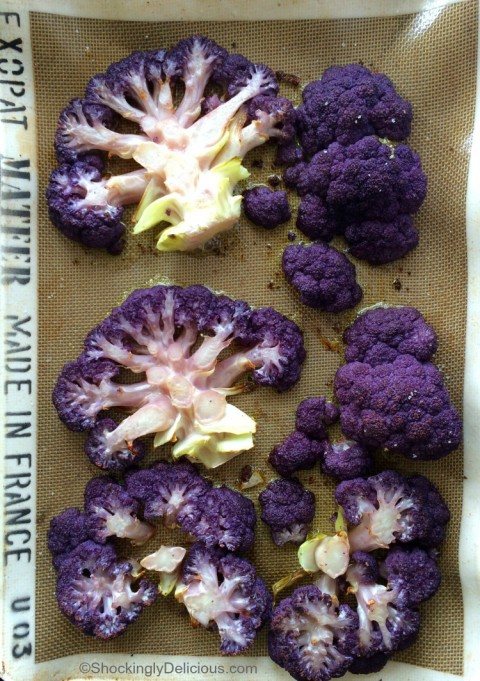 Low-carb Purple Cauliflower Steaks recipe on ShockinglyDelicious.com