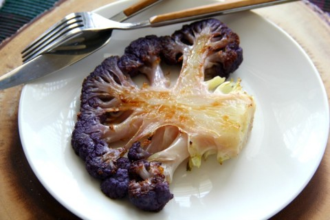 Paleo Purple Cauliflower Steaks on ShockinglyDelicious.com