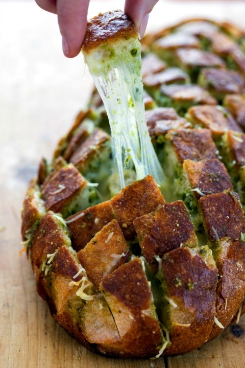 Pull Apart Pesto Bread recipe on ShockinglyDelicious.com