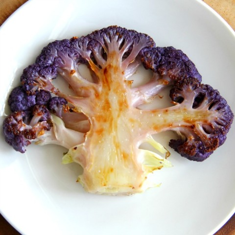 Purple Cauliflower Steaks recipe on ShockinglyDelicious.com