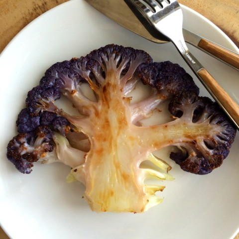 Vegan Purple Cauliflower Steaks on ShockinglyDelicious.com