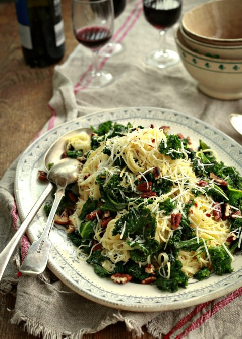 Angel hair with lemon, kale and pecans on Shockingly Delicious.com