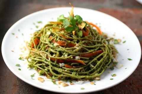 Edamame Spaghetti with Kale Cilantro Pesto recipe on ShockinglyDelicious.com