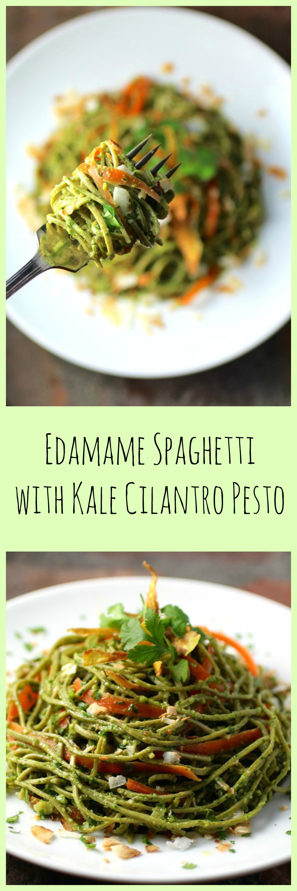 Edamame Spaghetti with Kale Cilantro Pesto to pin from ShockinglyDelicious.com