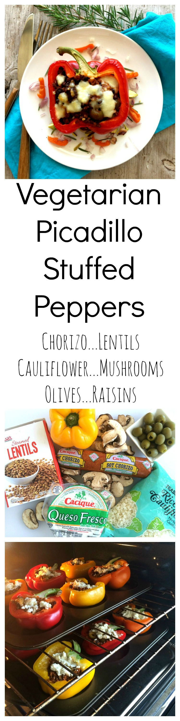 Picadillo Stuffed Peppers with Chorizo, Lentils, Cauliflower and Mushrooms on ShockinglyDelicious.com