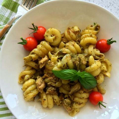 Easy Tuna Pesto Pasta recipe on ShockinglyDelicious.com
