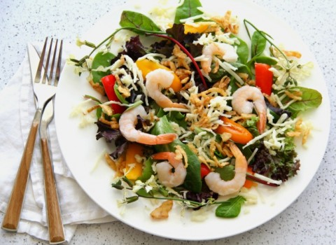 Summer Salad with Fresh Basil Vinaigrette is a light, main-dish salad that would make a nice lunch or dinner, and takes advantage of the colors of the season.