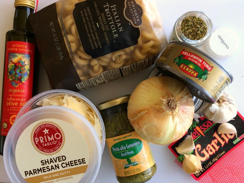 Ingredients for Tuna Pesto Pasta recipe on a white background on ShockinglyDelicious.com