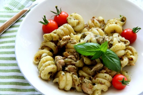 You won't even have to shop before making Tuna Pesto Pasta, because most of the ingredients come from the pantry. It's easy for a weeknight, or a sophisticated lunch. | ShockinglyDelicious.com