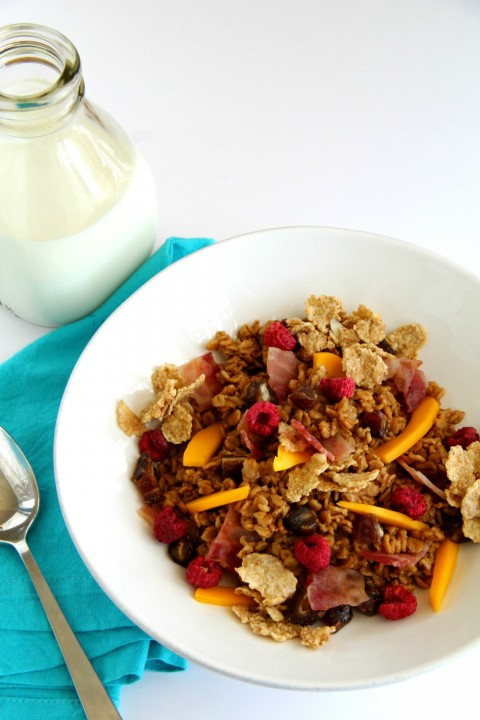 Easy Chai Oatmeal with Bacon, Mango, Dates and Raspberries on ShockinglyDelicious.com